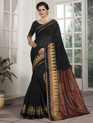 Black Color Blended Cotton Festival & Function Wear Sarees : Avrati Collection  YF-53365
