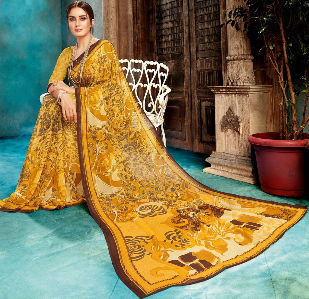 Yellow Color Georgette Digital Print Sarees NYF-4518