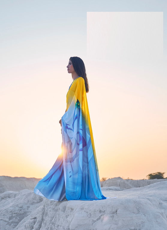 Yellow and Blue Color Italian Satin Crepe Casual Wear Saree  -  Chitrang Collection YF#11042