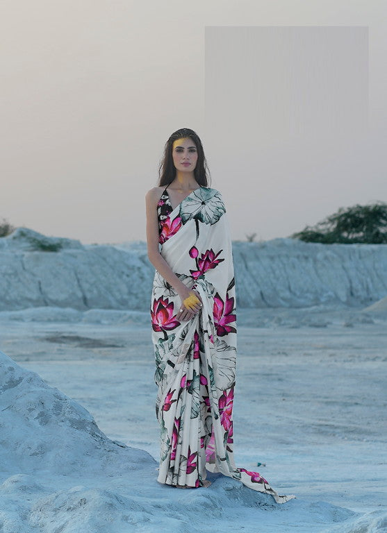Off White Color Italian Satin Crepe Casual Wear Saree  -  Chitrang Collection YF#11050