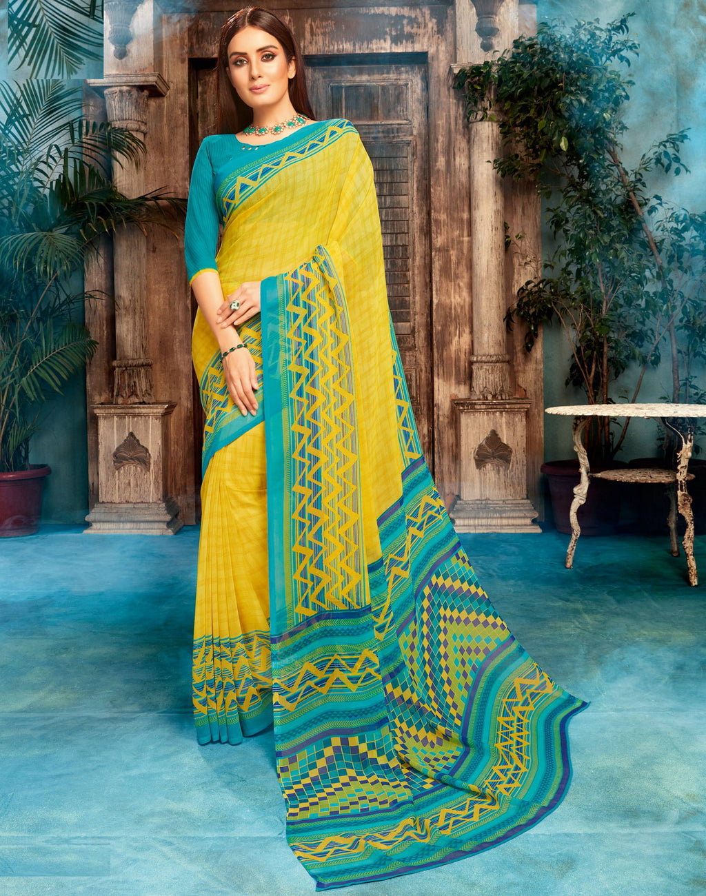 Yellow Color Georgette Printed Sarees NYF-4525