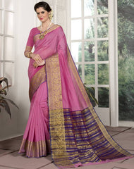 Pink Color Blended Cotton Festival & Function Wear Sarees : Avrati Collection  YF-53366