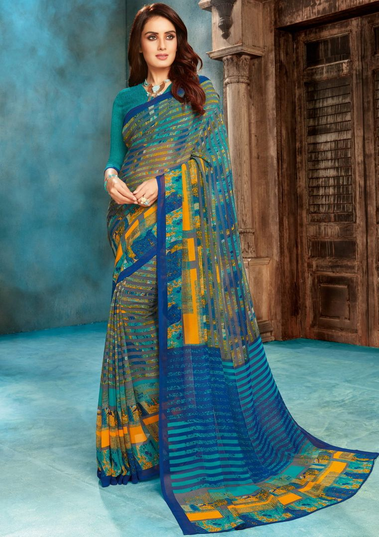 Blue Color Georgette Printed Sarees NYF-4529