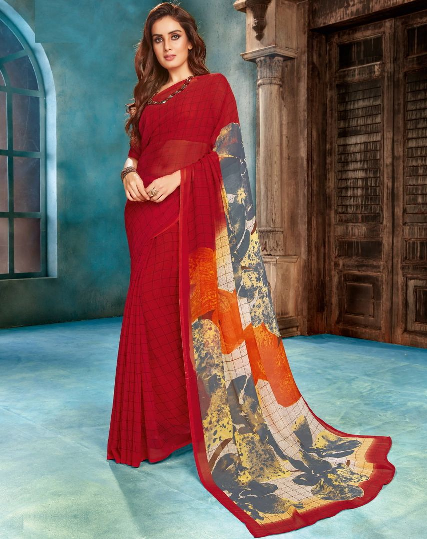Red Color Georgette Digital Print Sarees NYF-4530