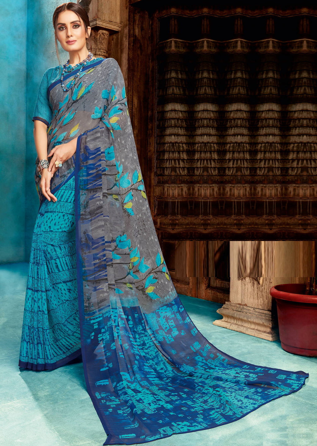 Blue Color Georgette Digital Print Sarees NYF-4531