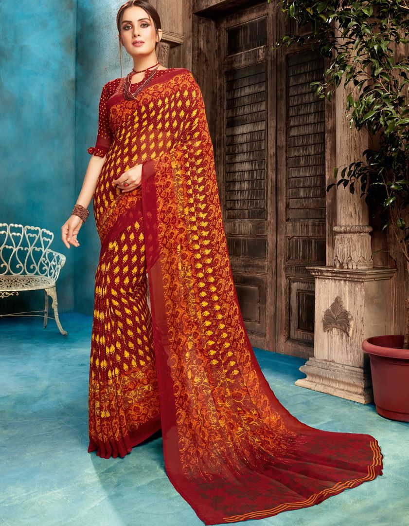 Maroon Color Georgette Printed Sarees NYF-4532