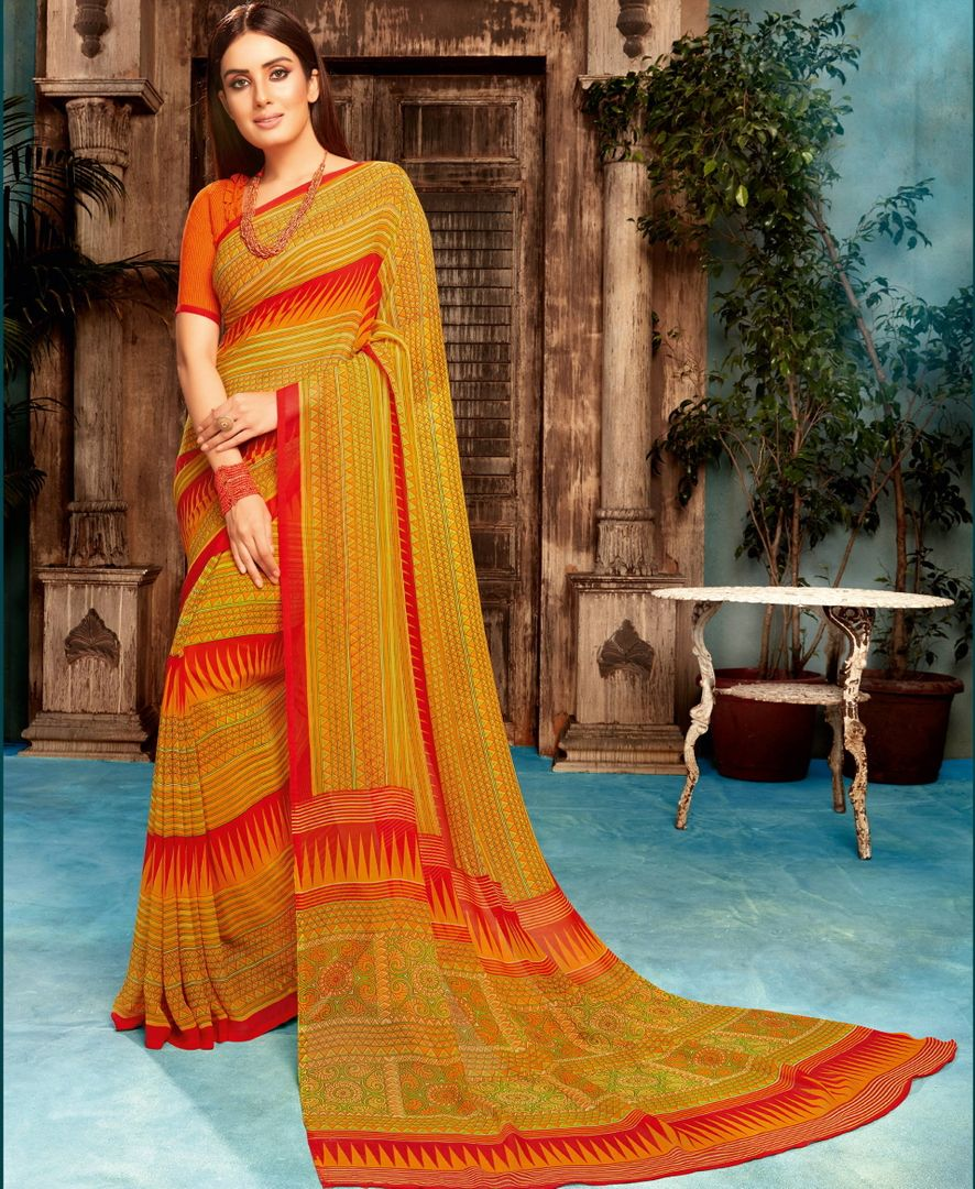 Multi Color Georgette Printed Sarees NYF-4533