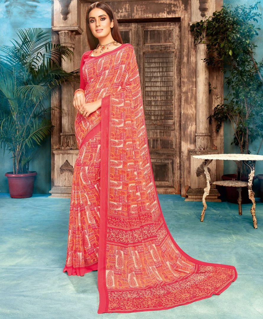 Pink Color Georgette Printed Sarees NYF-4534