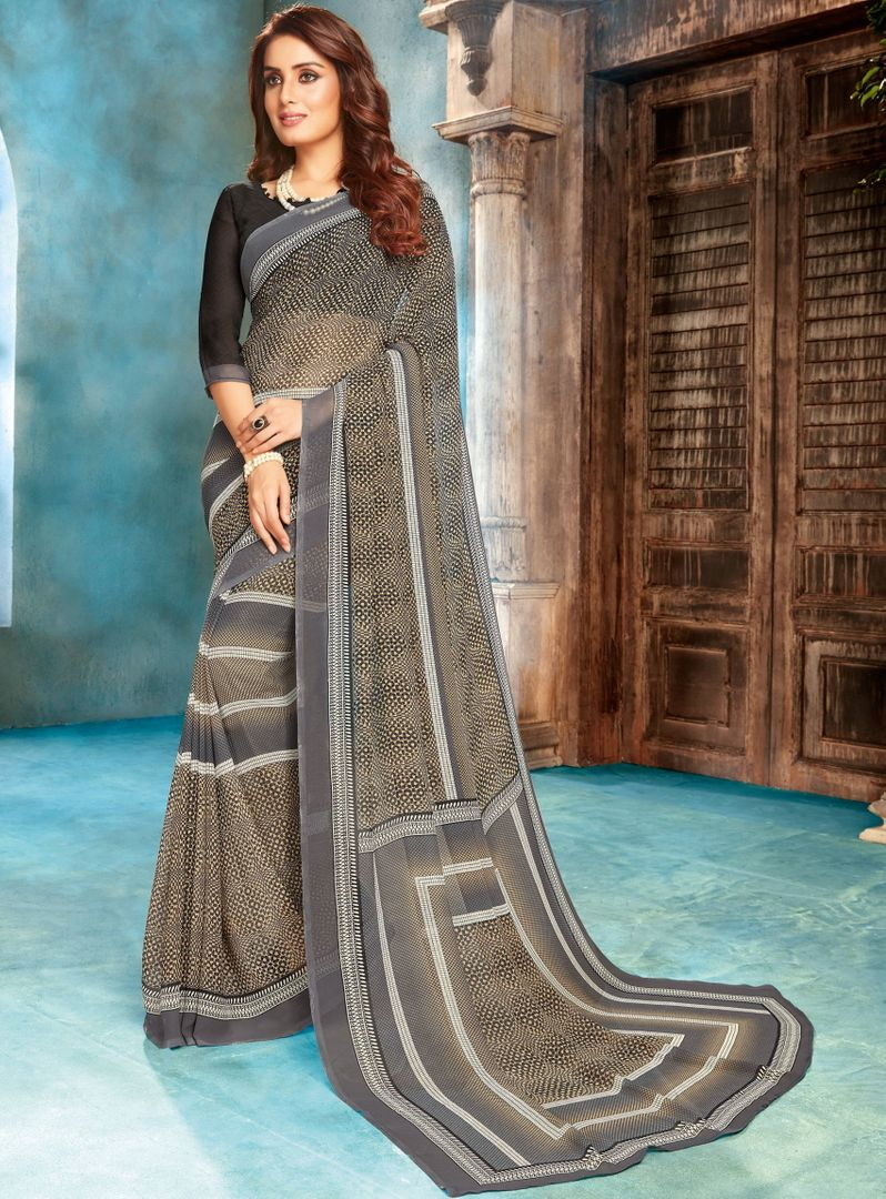 Grey Color Georgette Printed Sarees NYF-4535