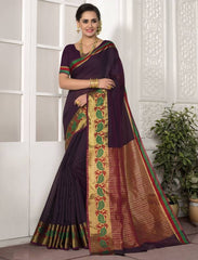 Brinjal Color Blended Cotton Festival & Function Wear Sarees : Avrati Collection  YF-53367