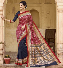 Red, Pink & Blue Color Bhagalpuri Casual Function Wear Sarees : Shrija Collection  YF-38279