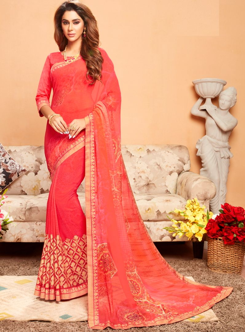 Gajjariya Color Georgette Printed Kitty Party Sarees : Ragini Collection  NYF-5185