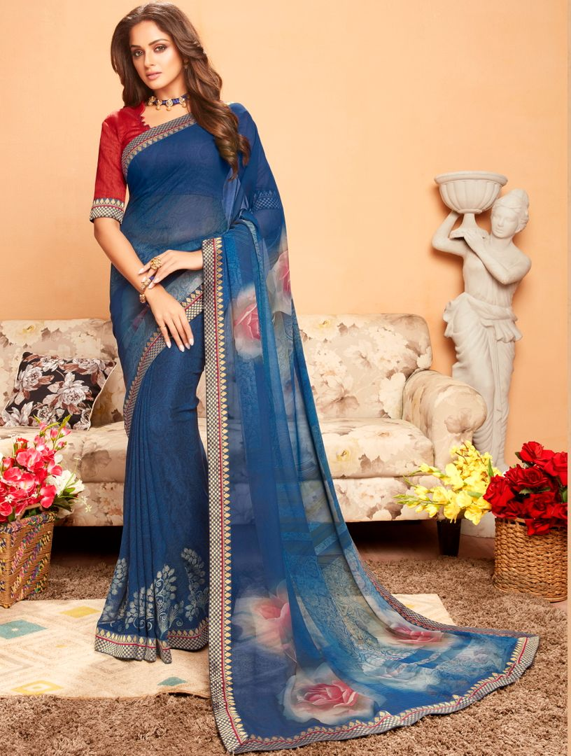Blue Color Georgette Printed Kitty Party Sarees : Ragini Collection  NYF-5186
