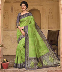 Green Color Bhagalpuri Casual Function Wear Sarees : Shrija Collection  YF-38280