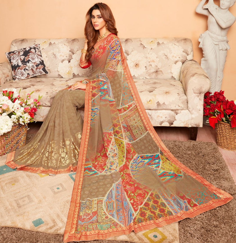Beige Color Georgette Printed Kitty Party Sarees : Ragini Collection  NYF-5191