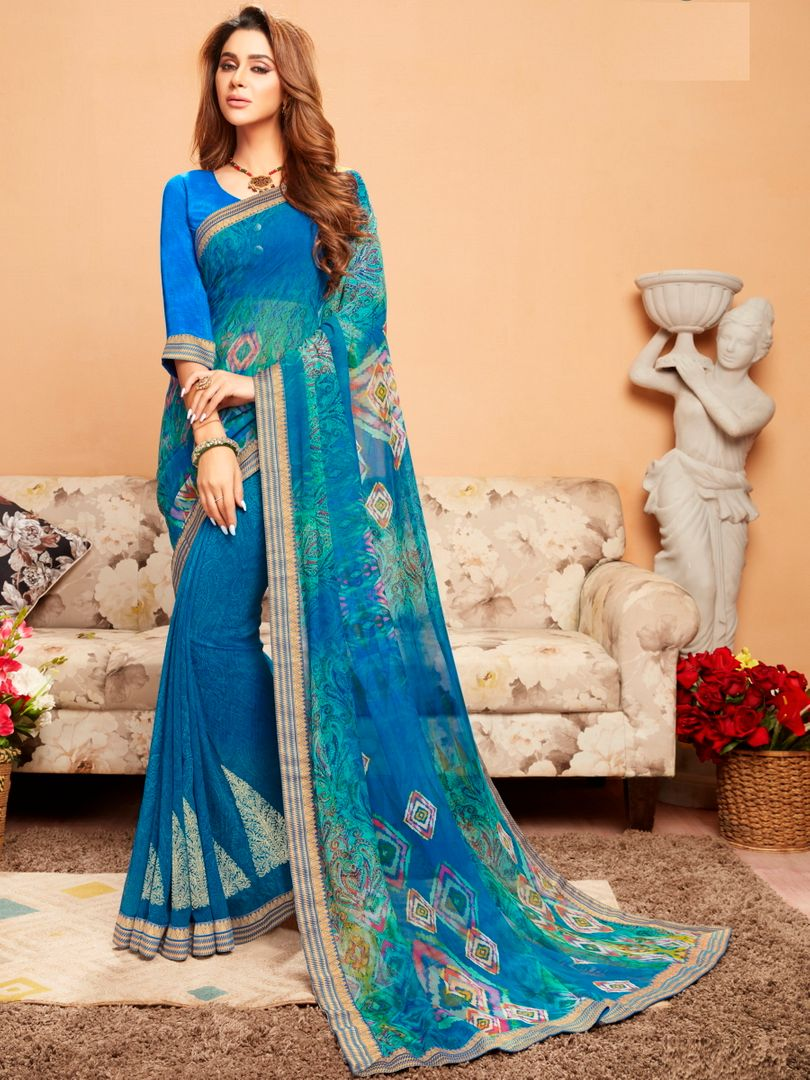Blue Color Georgette Printed Kitty Party Sarees : Ragini Collection  NYF-5192