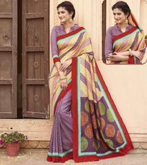 Light Yellow & Lavender Color Bhagalpuri Casual Function Wear Sarees : Shrija Collection  YF-38286
