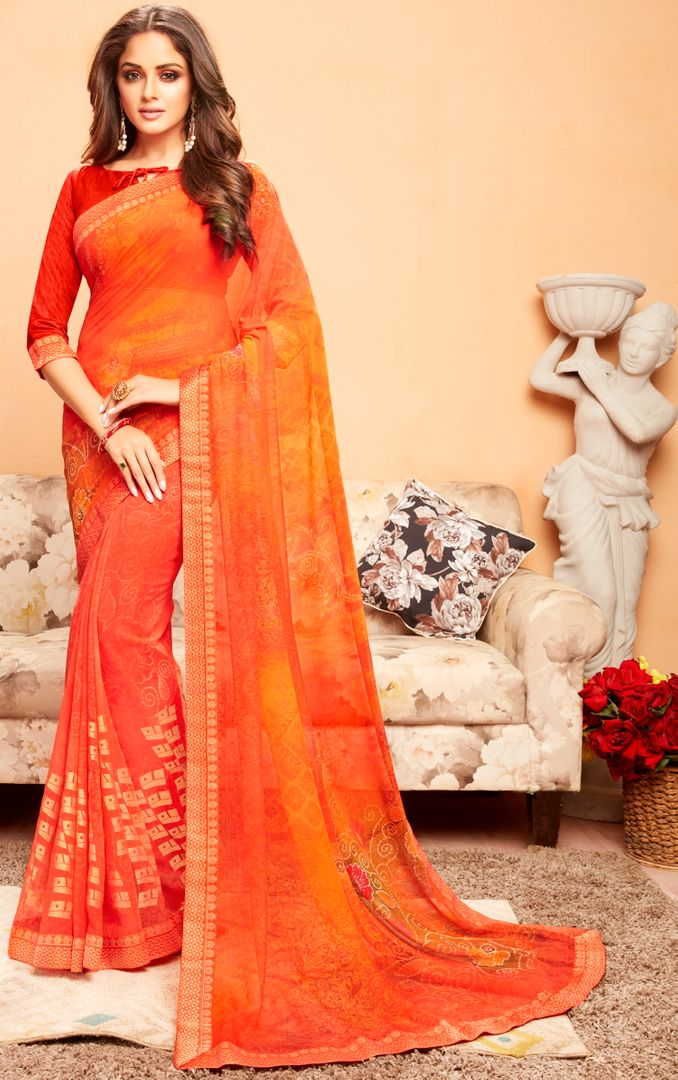 Orange Color Georgette Printed Kitty Party Sarees : Ragini Collection  NYF-5193