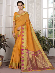 Mango Yellow Color Blended Cotton Festival & Function Wear Sarees : Avrati Collection  YF-53368