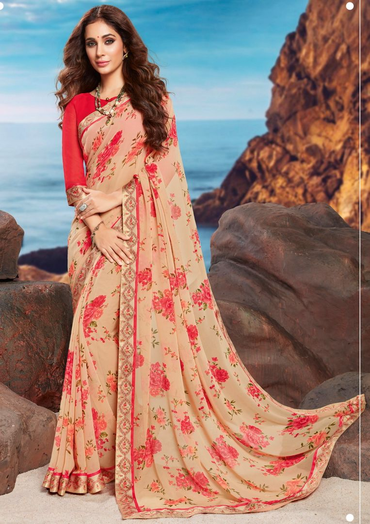 Peach Color Georgette Youthful Kitty Party Sarees NYF-4467