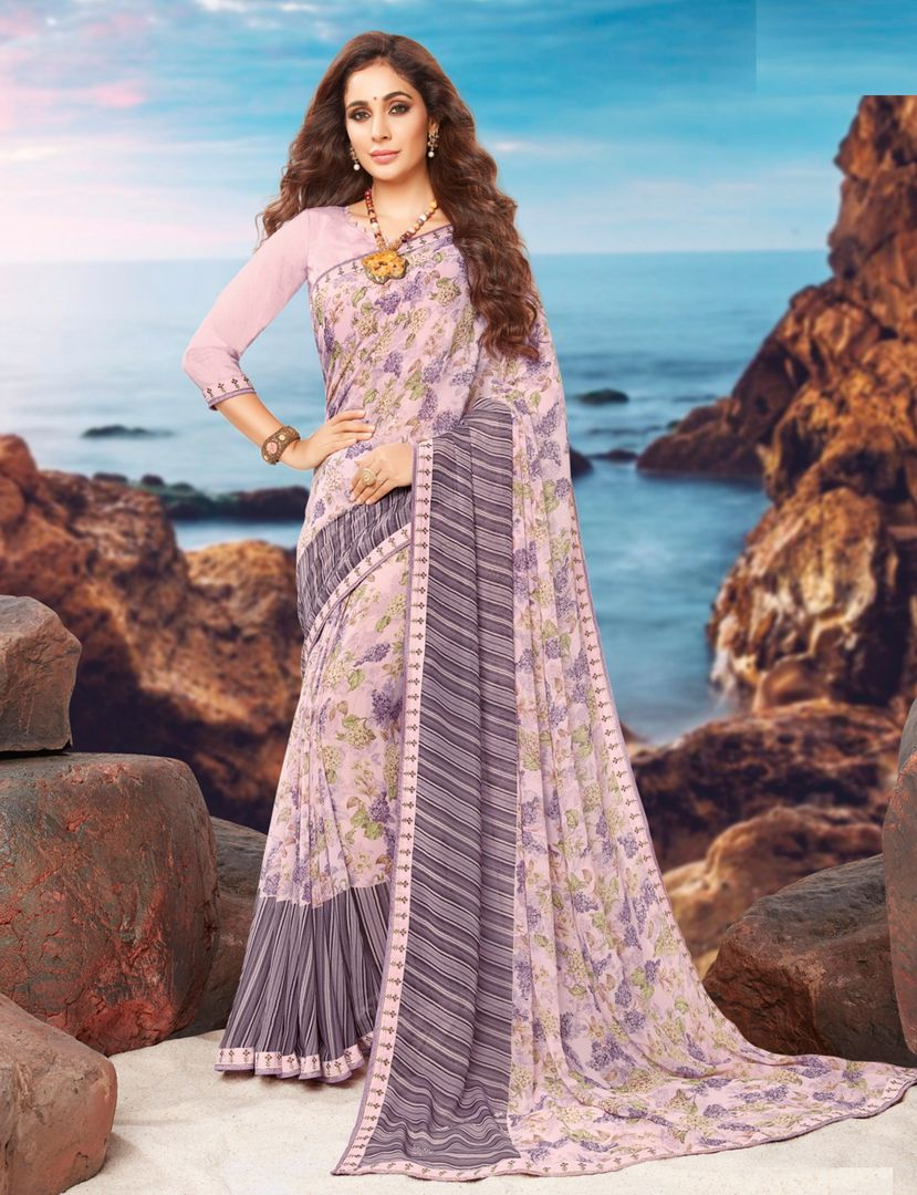 Lavender Color Georgette Youthful Kitty Party Sarees NYF-4468