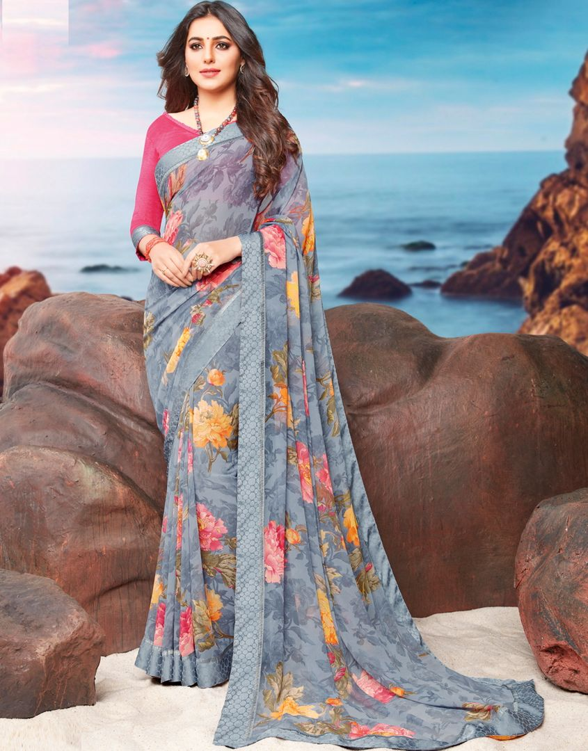 Grey Color Georgette Youthful Kitty Party Sarees NYF-4469