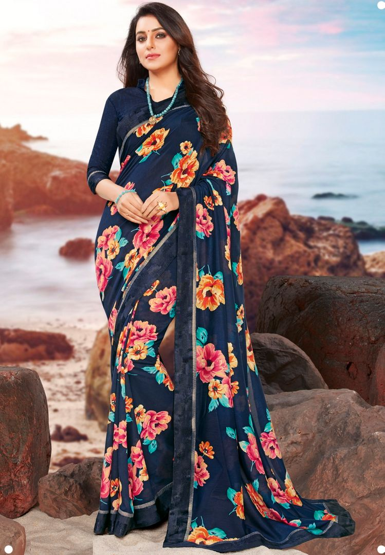 Blue Color Georgette Youthful Kitty Party Sarees NYF-4471