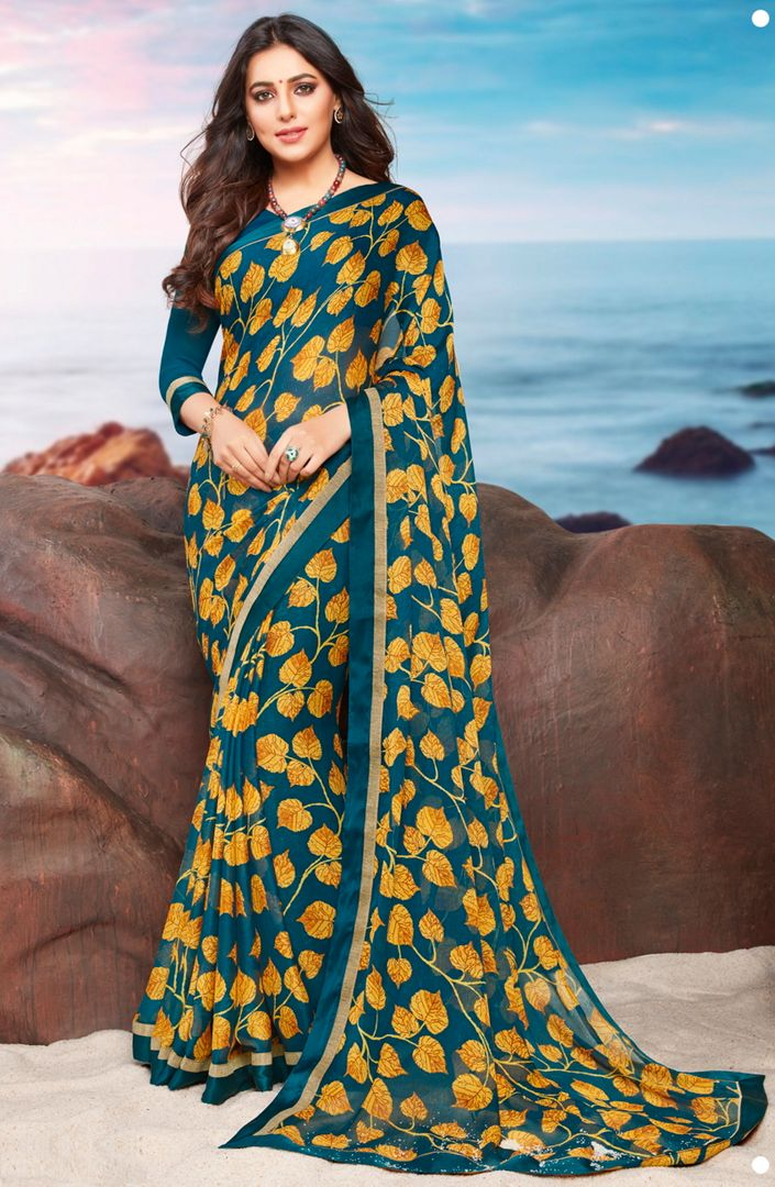 Blue & Yellow Color Georgette Youthful Kitty Party Sarees NYF-4473