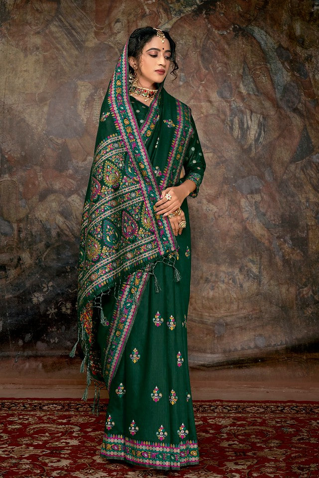 Bottle Green Color Cotton Silk Traditional Wear Saree Aakarsh Collection   YF#11700