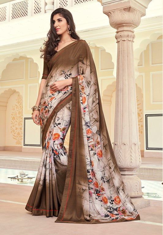 Off white and Brown Color Georgette Casual Wear Saree -   Iksha  Collection  YF#11402