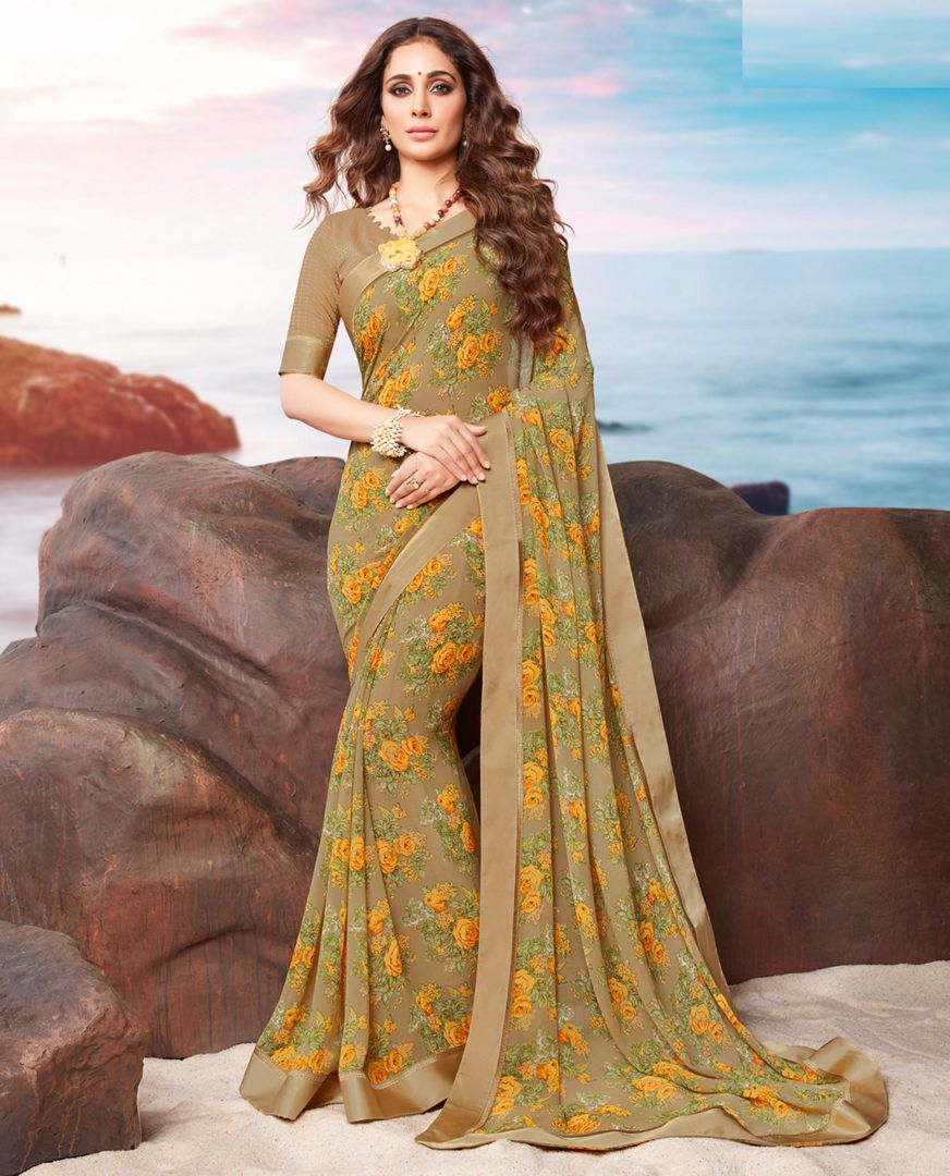 Beige Color Georgette Youthful Kitty Party Sarees NYF-4474