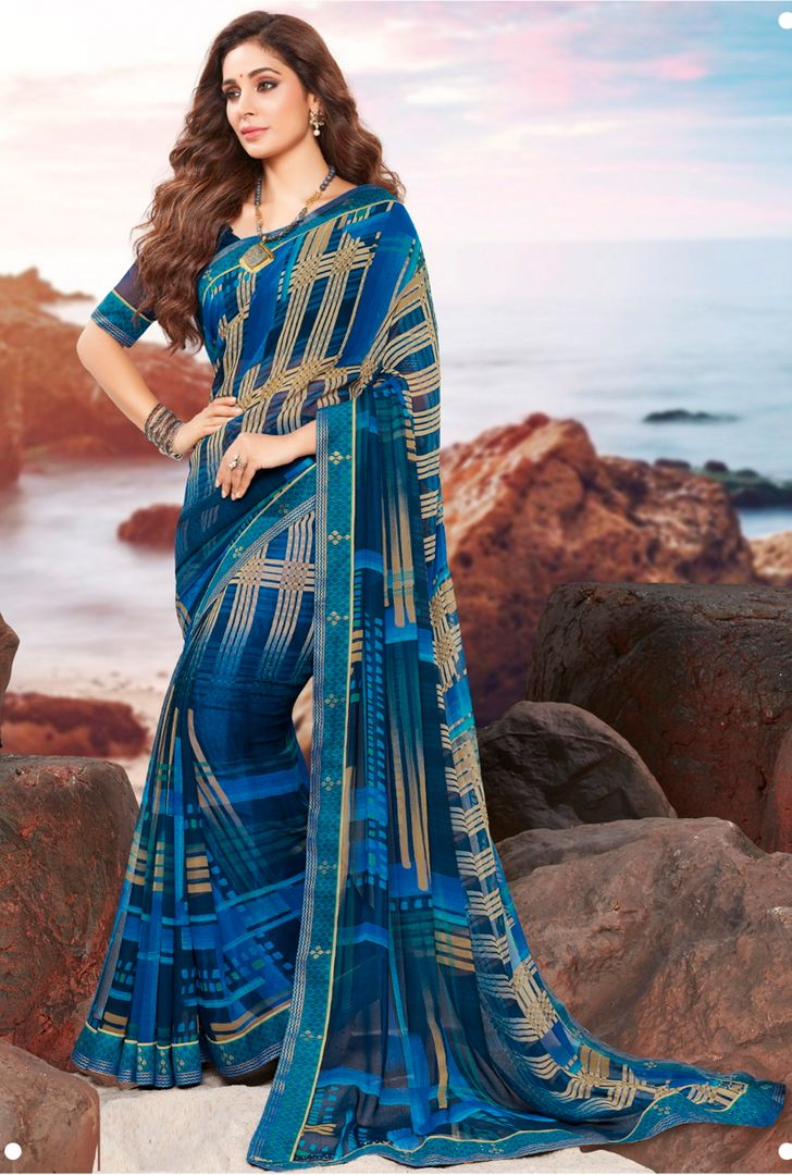 Blue Color Georgette Youthful Kitty Party Sarees NYF-4475
