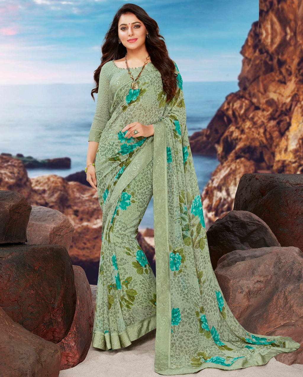 Sea Green Color Georgette Youthful Kitty Party Sarees NYF-4476