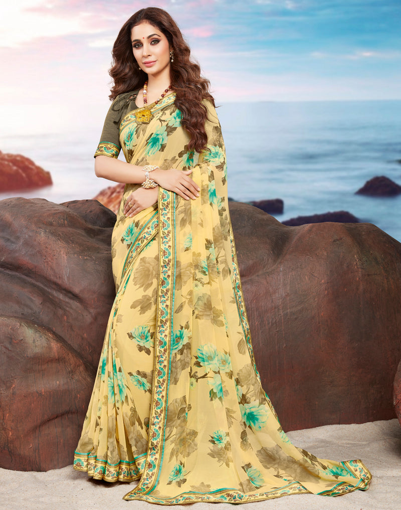 Yellow Color Georgette Youthful Kitty Party Sarees NYF-4481