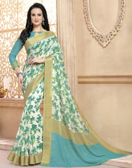 Off White & Sea Green Color Bhagalpuri Office Wear Sarees : Dipantika Collection  YF-52333