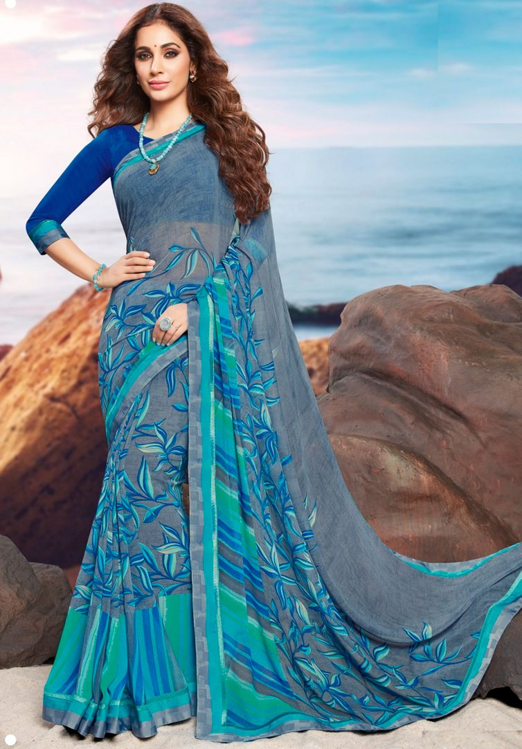 Blue Color Georgette Youthful Kitty Party Sarees NYF-4482