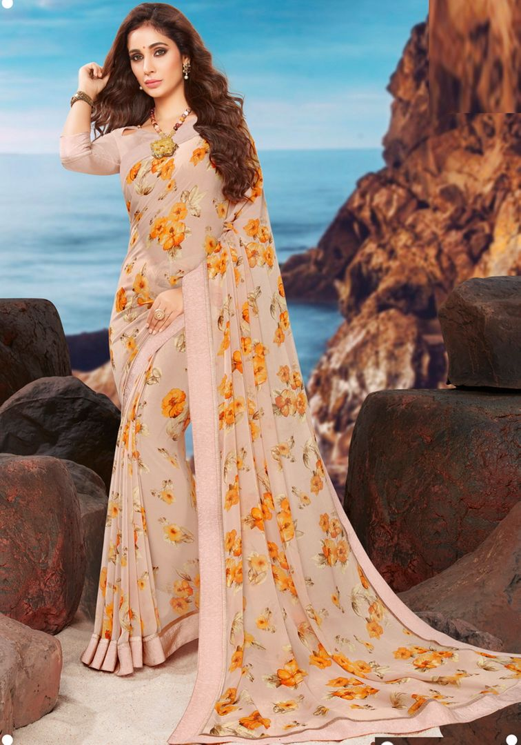 Cream Color Georgette Youthful Kitty Party Sarees NYF-4486