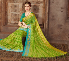 Green & Yellow Color Wrinkle Chiffon Casual Wear Sarees : Samyan Collection  YF-47372