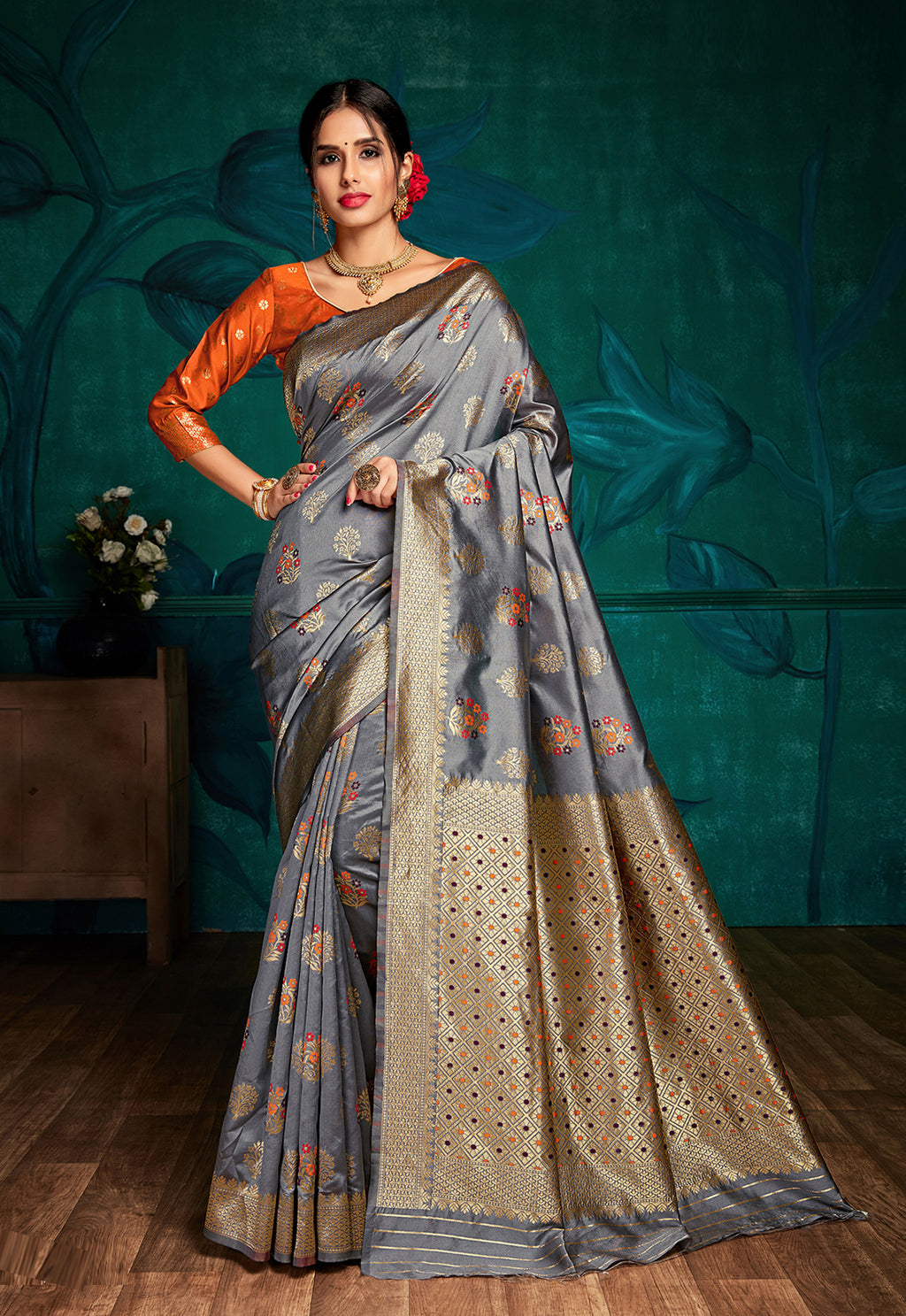 Grey Color Art Silk Aesthetic Office Party Sarees NYF-6094
