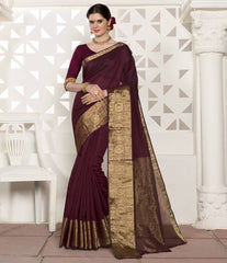 Wine Color Blended Cotton Festival & Function Wear Sarees : Virani Collection  YF-53369