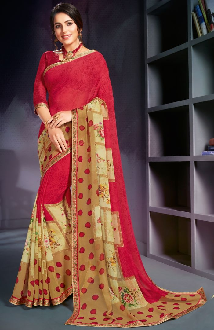 Red Color Georgette Printed Office Wear Sarees NYF-4491