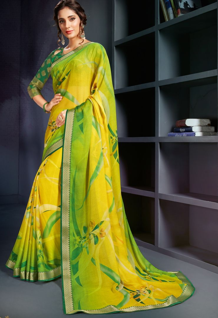 Green & Yellow Color Chiffon Printed Office Wear Sarees NYF-4492