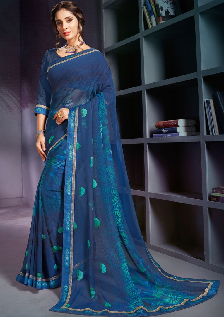 Blue Color Georgette Printed Office Wear Sarees NYF-4493