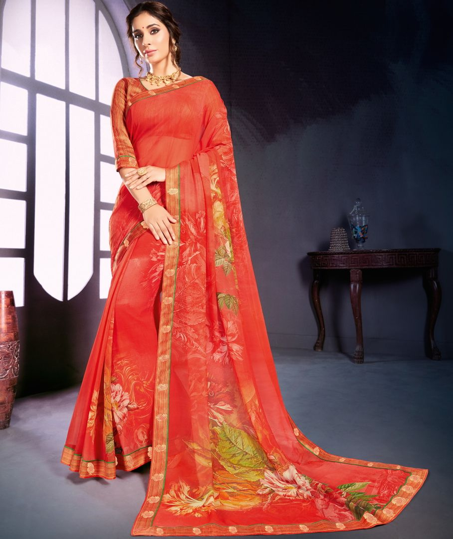 Sindoori Color Georgette Printed Office Wear Sarees NYF-4494