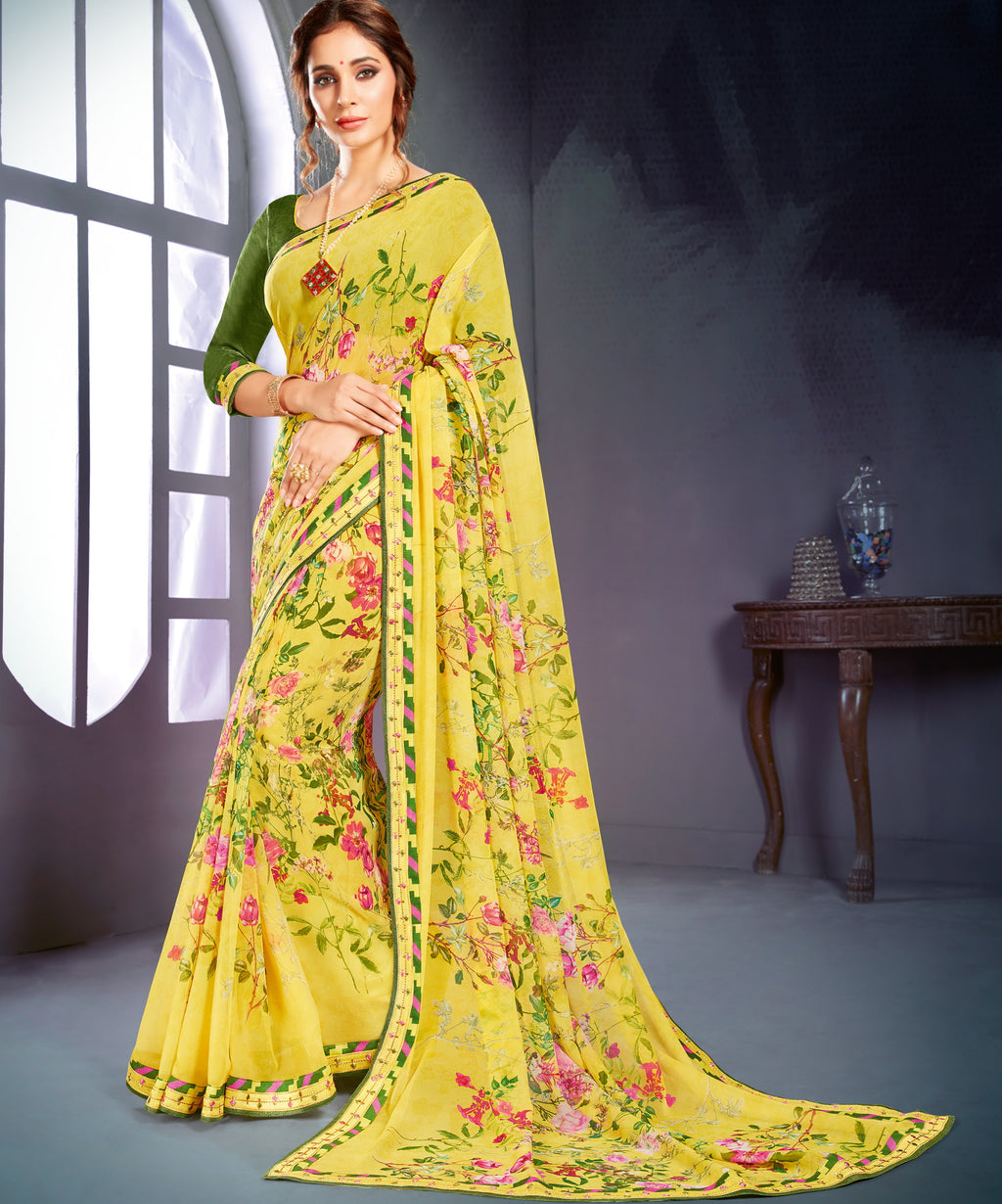 Yellow Color Georgette Printed Office Wear Sarees NYF-4495