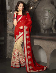 Red & Beige Color Half Raw Silk & Half Chiffon Party & Function Sarees : Meherani Collection  YF-30071