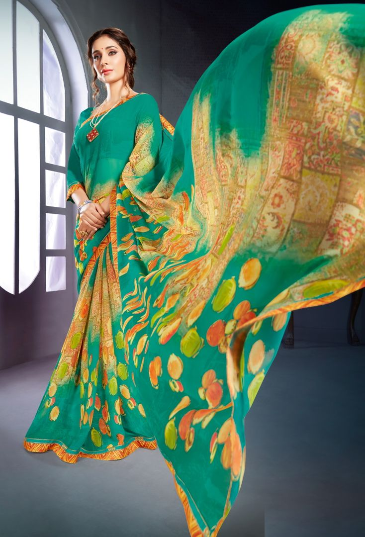 Rama Green Color Georgette Printed Office Wear Sarees NYF-4496