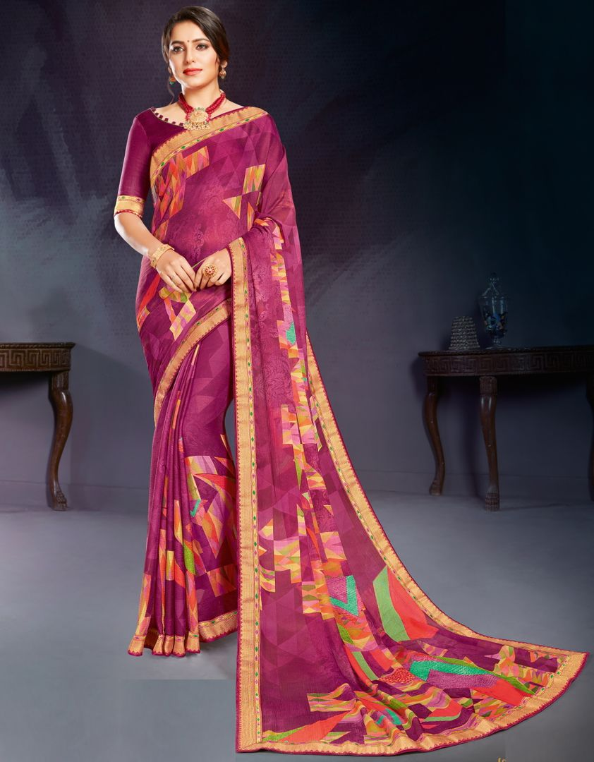 Purple Color Chiffon Printed Office Wear Sarees NYF-4497