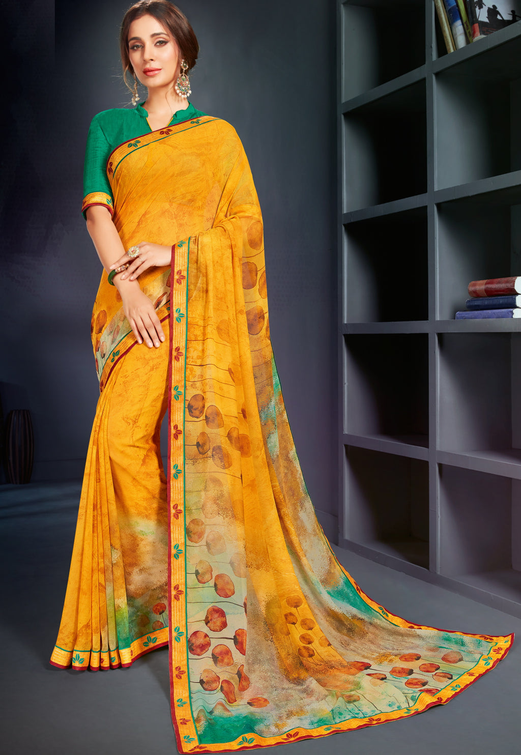 Mango Yellow Color Georgette Printed Office Wear Sarees NYF-4498