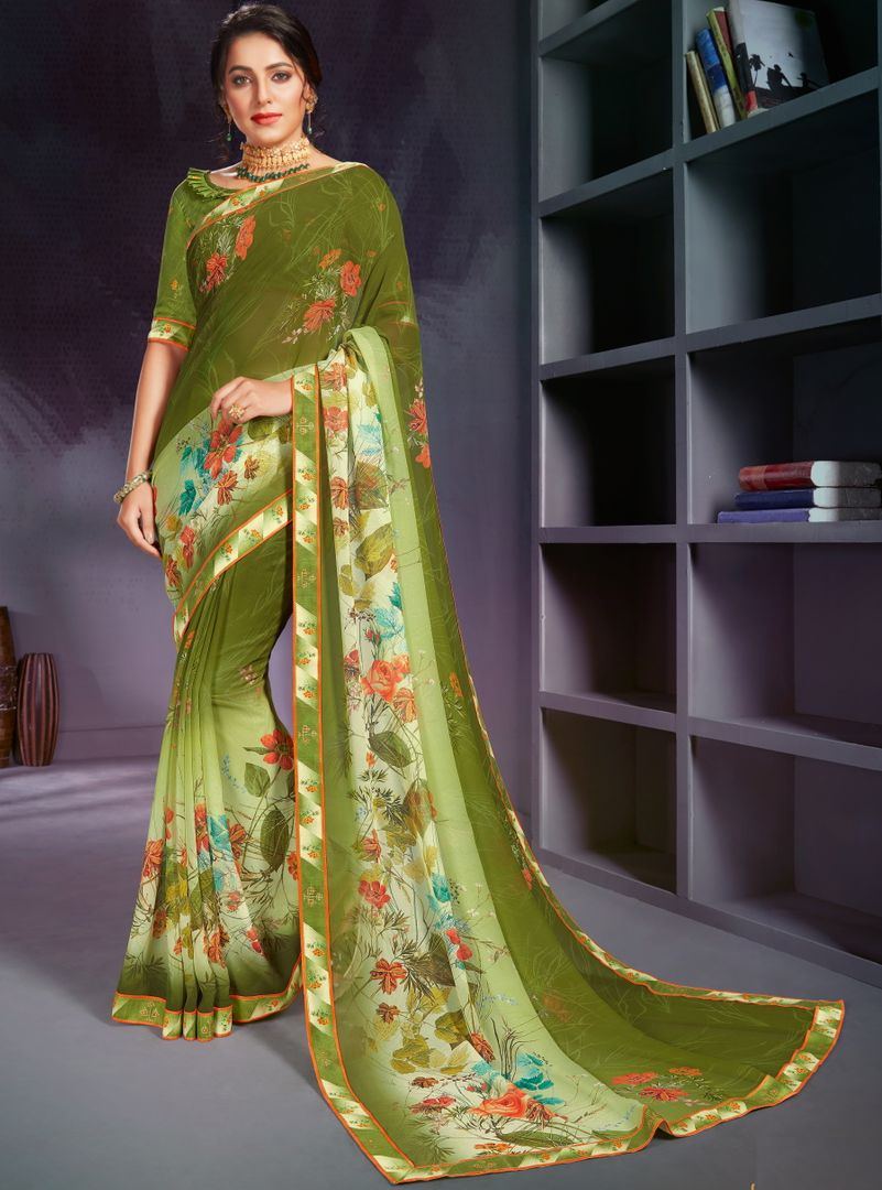 Mehendi Green Color Georgette Printed Office Wear Sarees NYF-4499